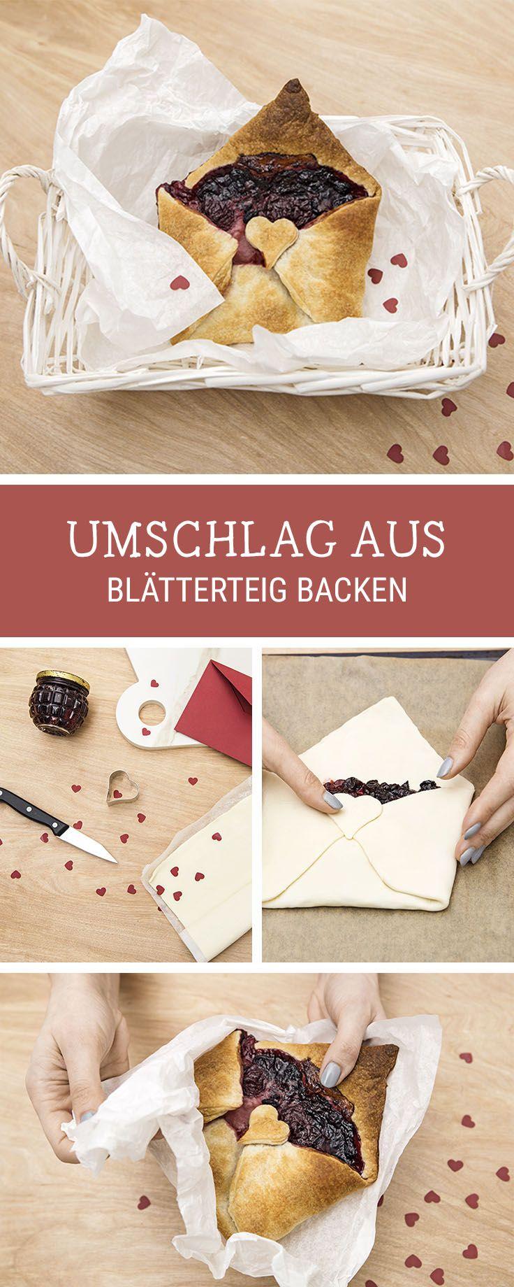 Rezept für den Valentinstag: Blätterteig Gebäck in Form eines Briefes / puff pastry recipes for Valentine's Day via DaWanda.com