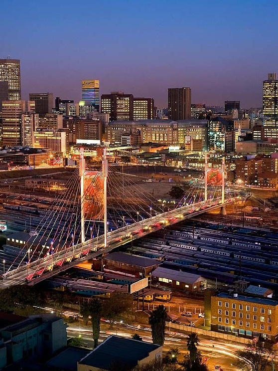 Mandela Bridge in Johannesburg, South Africa.  For visit, hire a car from : www.carrentaljohannesburgairport.com