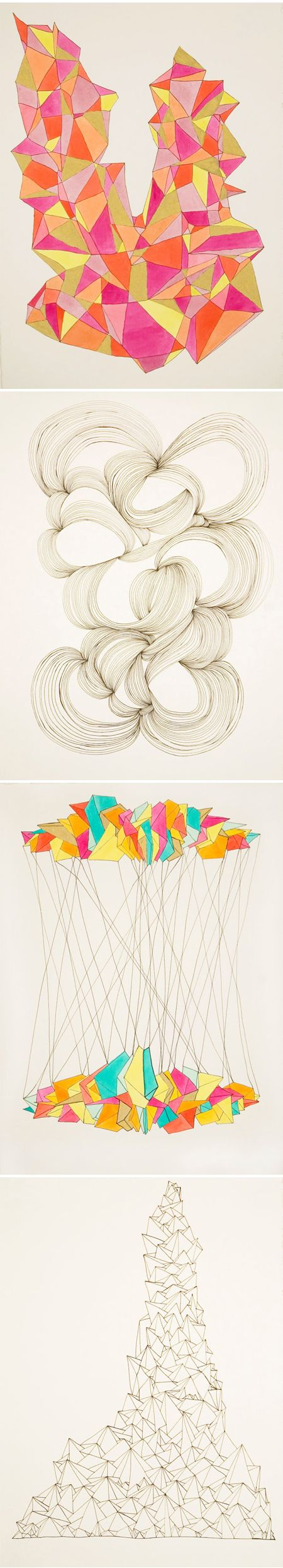 Gorgeous geometric drawings by Kristy Modarelli selling for 100 bucks each and 25% going to charity.