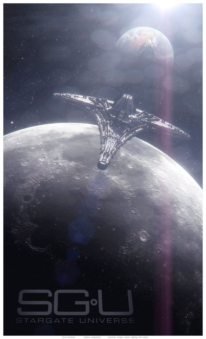 """Inceptum II: SGU Poster by Diston Digital Art / 3-Dimensional Art / Scenes / Futuristic & Sci-Fi  ©2011-2013 Diston Similar to the recent image """"Inceptum"""" this image shows the Destiny flying over the limb of the Moon, with the Earth rising in the background."""