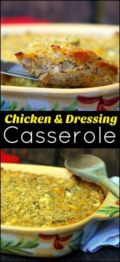 Leftover chicken and a box of Jiffy turn thanksgiving dinner into a weeknight casserole with this Chicken & Dressing Casserole!