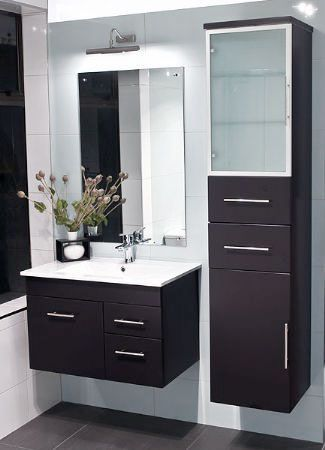 A floating vanity maximizes the space. Easy to clean around, too!