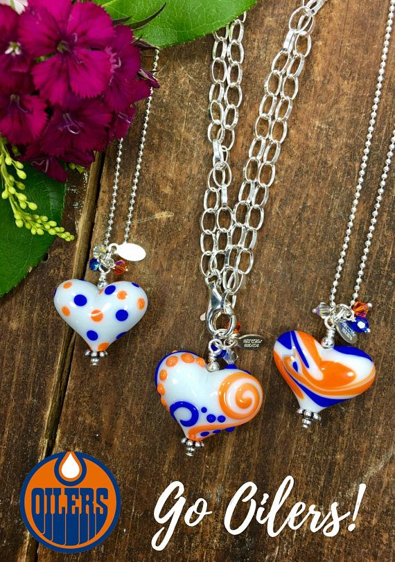 ♥︎ Edmonton Oilers Necklace. Heart Pendant Necklace. Gift for Hockey Fan. Women's Heart Necklace. Sterling Silver Necklace. Polka Dot Necklace. Studio BB Designs ♥︎