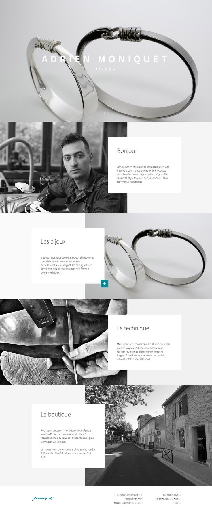 Lovely crisp product imagery in this uniquely arranged responsive one pager for jewellery designer, Adrien Moniquet.