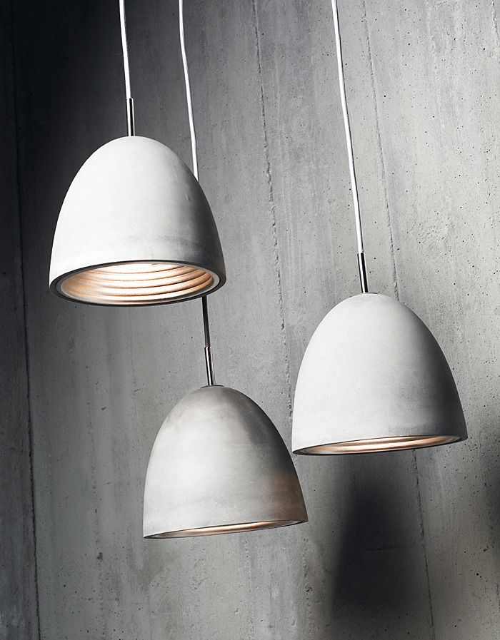 Concrete Pendant with Polished Chrome Ceiling Canopy Viore Design