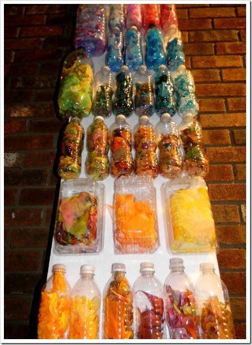 Recycled bottles used for an art display/ sensory wall. Pretty cool!