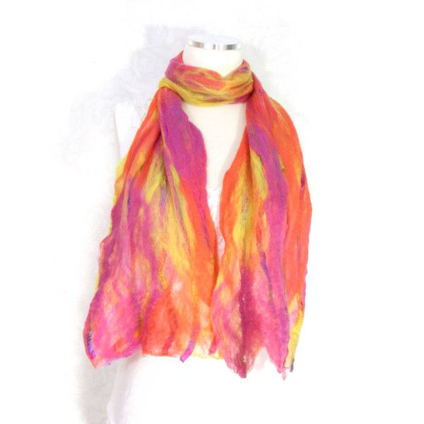 Cobweb Felted Scarf, Handmade Wool Winter Scarf, Neon Yellow Orange... (€42) ❤ liked on Polyvore featuring accessories and scarves