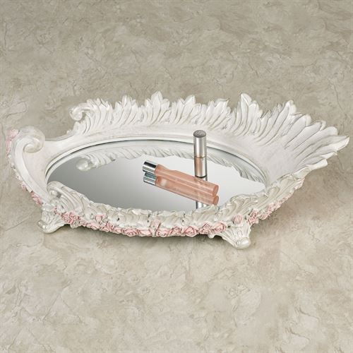 Victorian Rose Mirrored Vanity Tray Pink