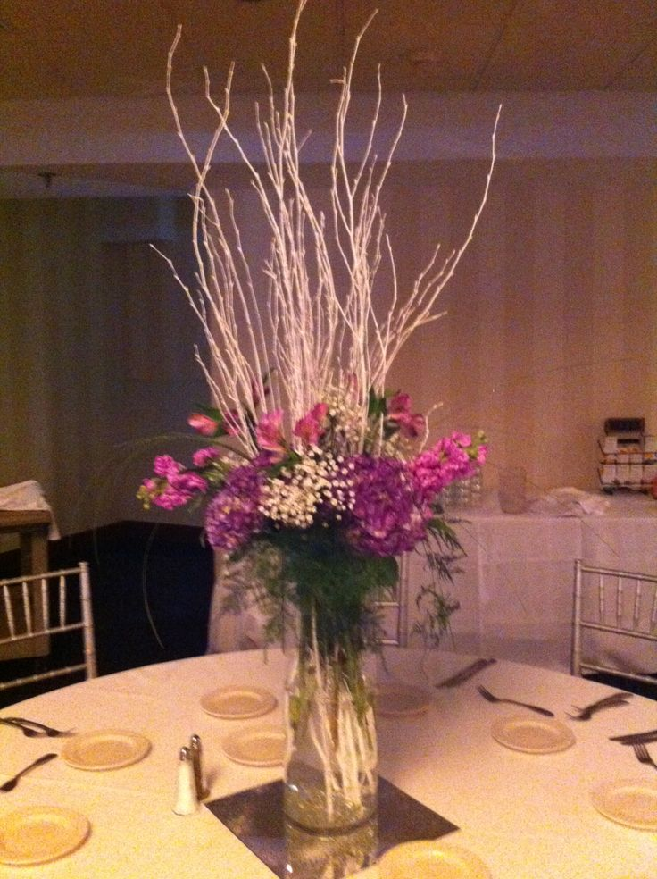 Fairy tale sparkle tall centerpieces with white birch