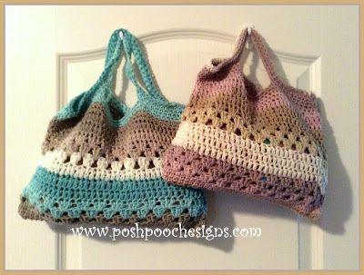 Lady's Tote Purse Crochet Pattern - http://poshpoochdesignsdogclothes.blogspot.ca/2014/06/ladys-tote-purse-crochet-pattern.html