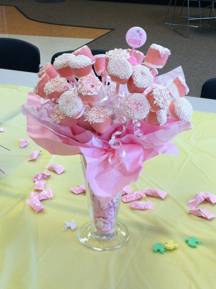 Pink chocolate dipped marshmallows for a baby shower for Dekoration fur babyparty