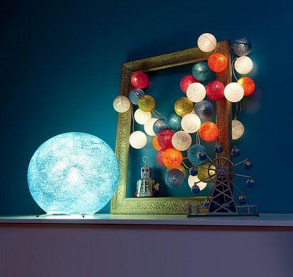 Boules lumineuses la case de cousin paul, Pour la chambre bleu, une guirlande et une boule pour la lampe de Seb?