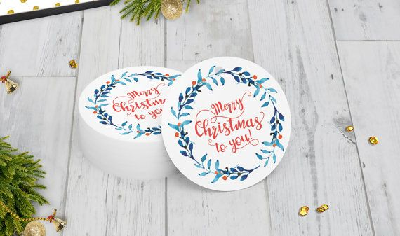 Christmas Wreath Gift Tags Set of 15 Merry by DiyCraftyScraps