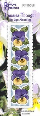 Cross-stitch bookmark - Pansies - Thought – NZ Fabrics & Yarn