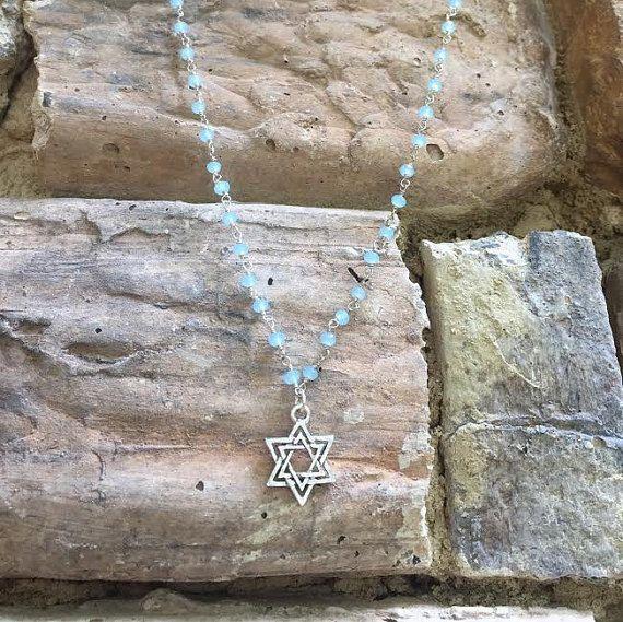 Silver Jewish Star of David Necklace  Light Blue by LaylaBDesigns