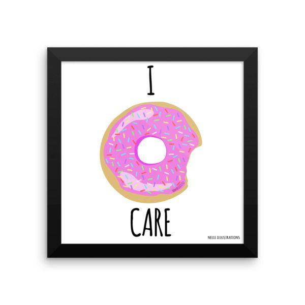 Donut illustrations 'I Donut Care' Framed poster