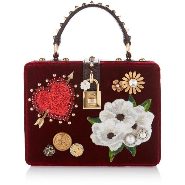 Dolce & Gabbana Embellished Velvet Top Handle Bag ($2,995) ❤ liked on Polyvore featuring bags, handbags, red, dolce gabbana handbags, red heart purse, handle bag, velvet purse and dolce gabbana purses