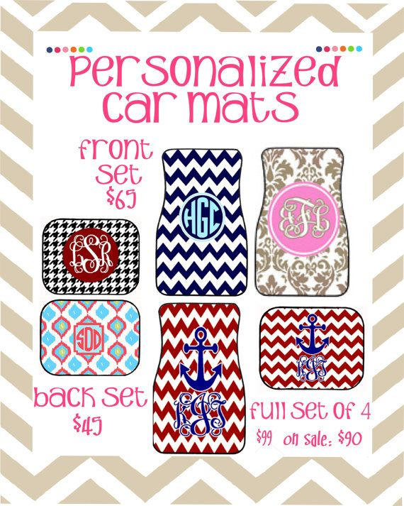 ON SALE Personalized Car Floor Mats    Full by PolkaDotsNWhatnots
