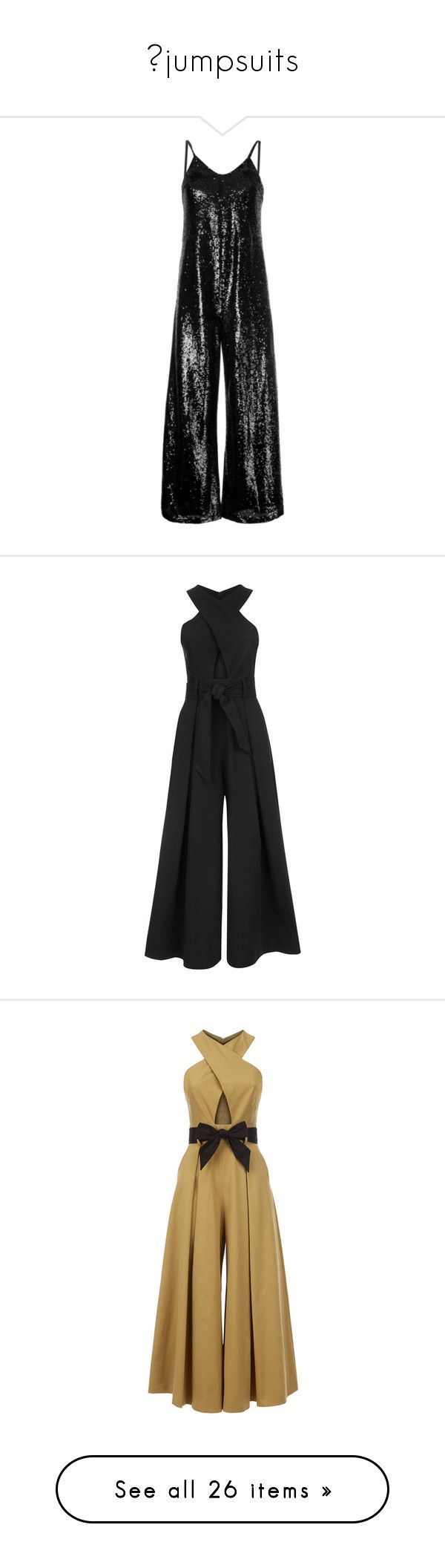 """""""✖jumpsuits"""" by alexisainsworth ❤ liked on Polyvore featuring jumpsuits, black, cami jumpsuit, sequin camisole, polyester camisole, sequin jump suit, sequin jumpsuit, jump suit, tailored jumpsuit and temperley london jumpsuit"""