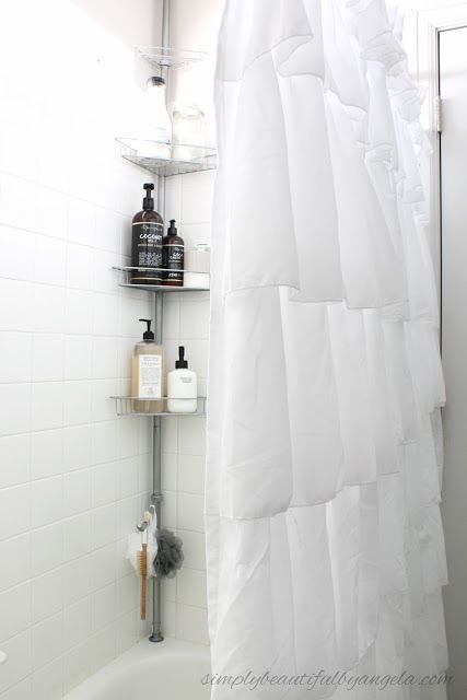 Simply Beautiful By Angela: One Room Challenge--Builder Grade to Farmhouse Style Master Bathroom on a Budget. Ruffled Shower Curtain and Corner Shower Caddy