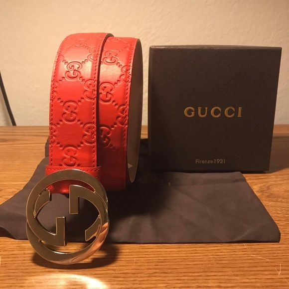 Images For Gucci Belt Serial Number >> Authentic Red Guccissima Men S Gucci Belt New Authentic Red