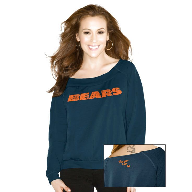 Touch By Alyssa Milano Chicago Bears Women's Draft Choice Boat Neck Sweatshirt - Navy Blue - $49.39
