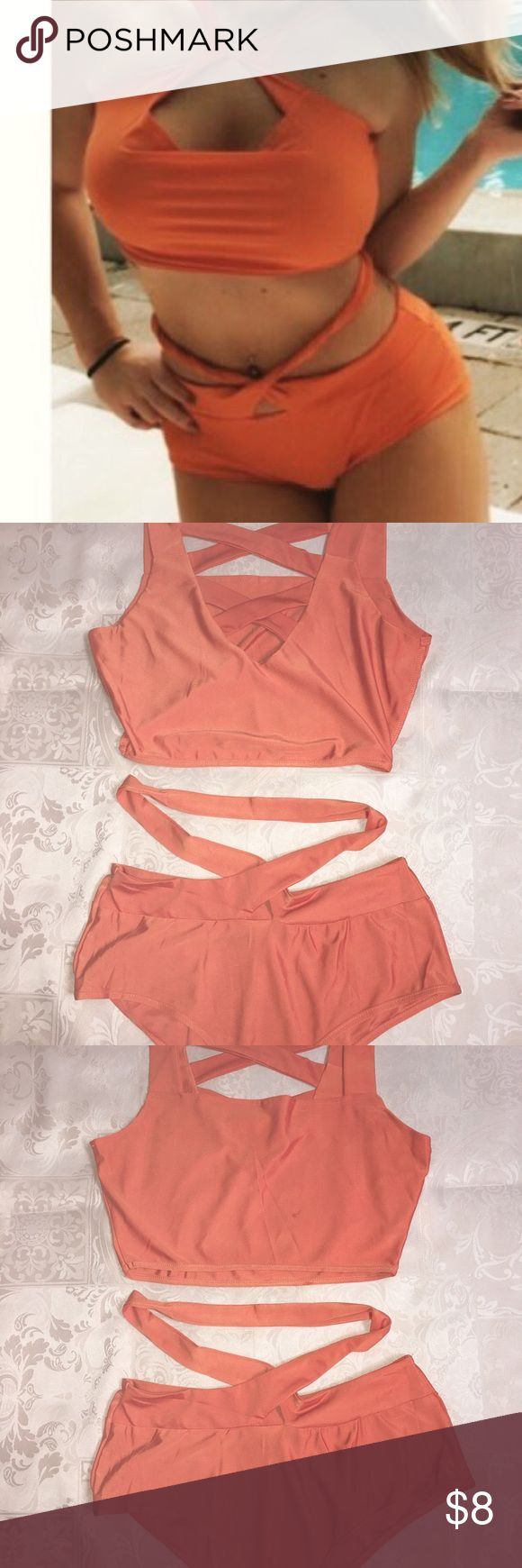 Orange bikini monokini size large Beautiful orange bikini. Can be worn several ways. Size large. Worn one time. Perfect for summer and vacations! Swim Bikinis