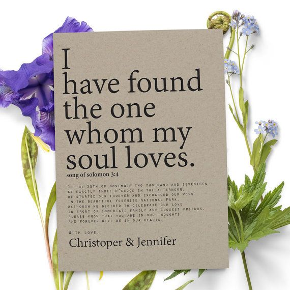 "Rustic elopement announcement card that everyone will love! Announce your marriage using the ""I have found the one whom my soul loves."" to family and friend. This wedding announcement card is personalized and customizable."
