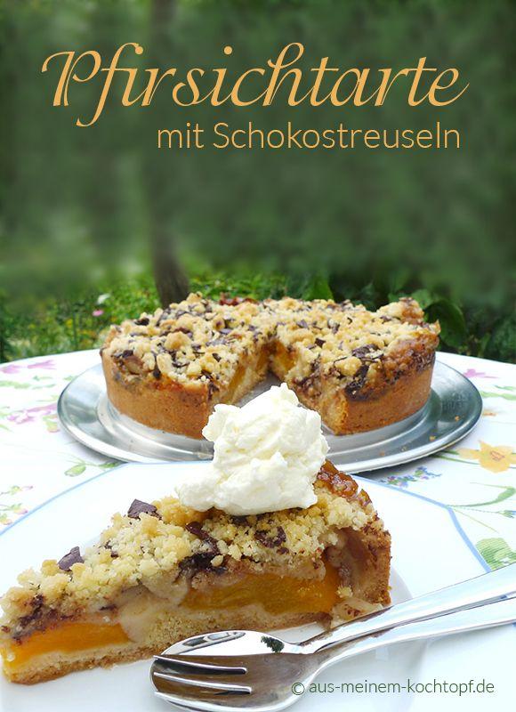 Pfirsichkuchen Oder Pfirsichtarte Mit Schokostreuseln Kuchen