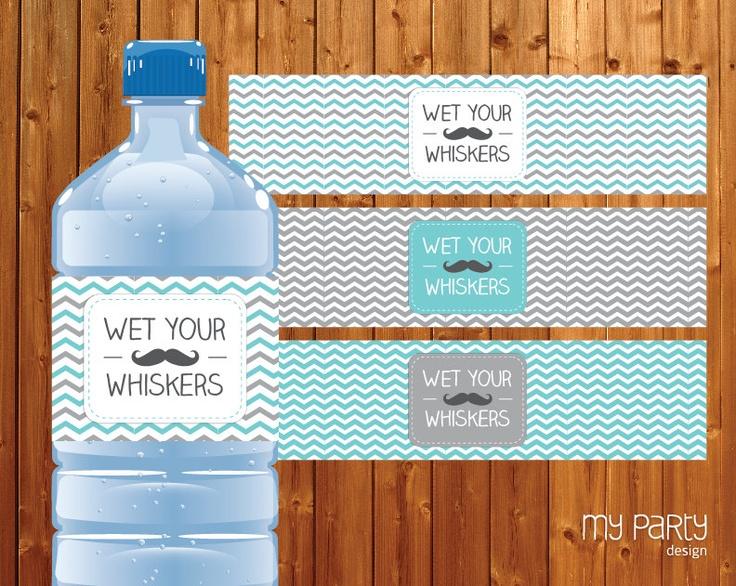 Mustache / Little Man Baby Shower Party - PRINTABLE Water Bottle Labels, boy moustache chevron turquoise grey diy pdf