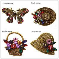 Синди xiang 6 стилей на выбор Винтаж со стразами павлин Hat бабочка Броши для Для женщин бижутерия броши рюкзак Значки