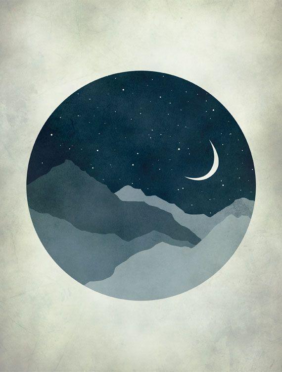 starry night moon and stars nursery decor kids wall art mid centu. Black Bedroom Furniture Sets. Home Design Ideas