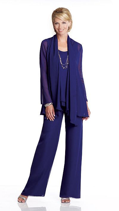 Mother of the Bride Pant Suit - Three-piece chiffon pant suit has sleeveless tank bodice which features double layered waistline trimmed with hand-beading, pants that feature elastic waistband and back zipper, matching jacket with long sleeves and beaded trim. This comfortable stylish pant set would be perfect for any formal event or wedding. Colors: Navy Blue, Smoke, Champagne, Black