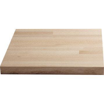 Plan de travail droit bois hêtre brut, 250 x 65 cm, ép. 26 mm