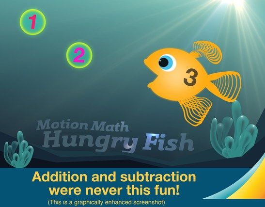 Feed your fish and play with numbers! Practice mental addition and subtraction with Motion Math: Hungry Fish, a delightful learning game that's fun for children and grownups. Your fish is hungry for numbers. Make delicious sums by pinching two numbers together – instant addition! Keep feeding your fish to win a level and unlock new colors and fins.