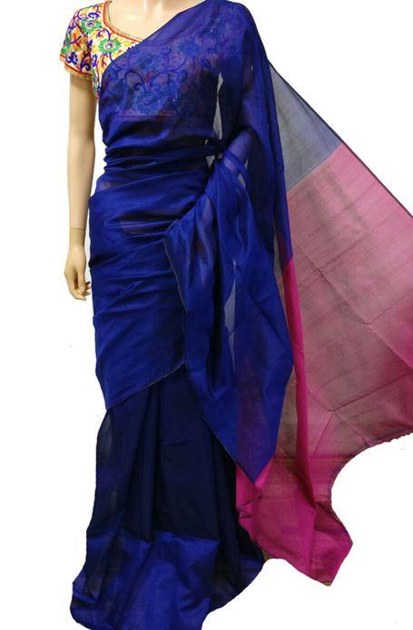 Blue Handloom Tussar Silk Saree