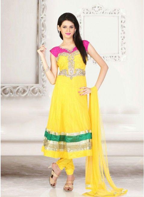 Stunning Lemon yellow #anarkali_suit with leaf work