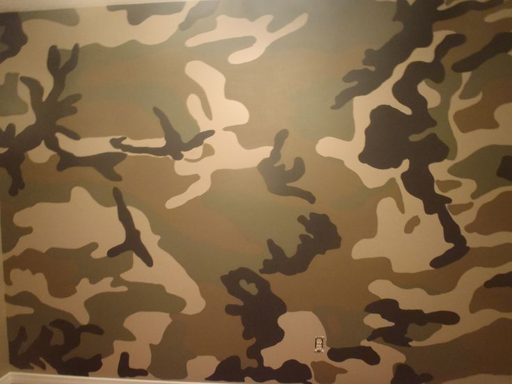 How to paint a camo room 1. Used a woodland camo picture and projected on wall 2. Traced the pattern 3. Painted all walls with Benjamin Moore - Regal Select paint 4. Base coat all walls - Turret CC-604 egg shell finish 5. Next coat first layer of mural - Buckhorn CC-510 - Ulti-Matte finish 6. Next layer - Gloucester Sage - HC- 100 7. Final layer - Wrought Iron - 2124-10 8. Base boards and closet done in - Dune white - CC-70 ***Best advice use specialty paint brushes from an art store.