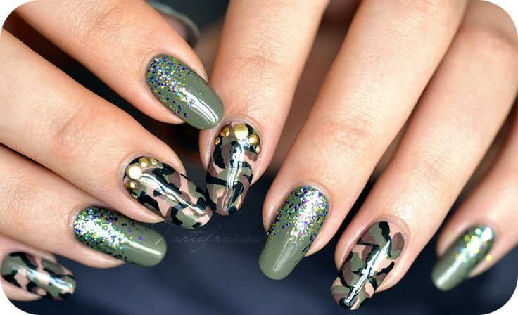 Nail art Army camouflage military