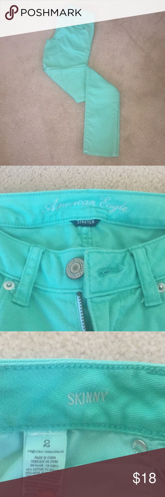 Mint green jeans American Eagle size 2 mint green skinny jeans. Worn a few times. They are size 2 regular! Perfect condition! American Eagle Outfitters Jeans Skinny