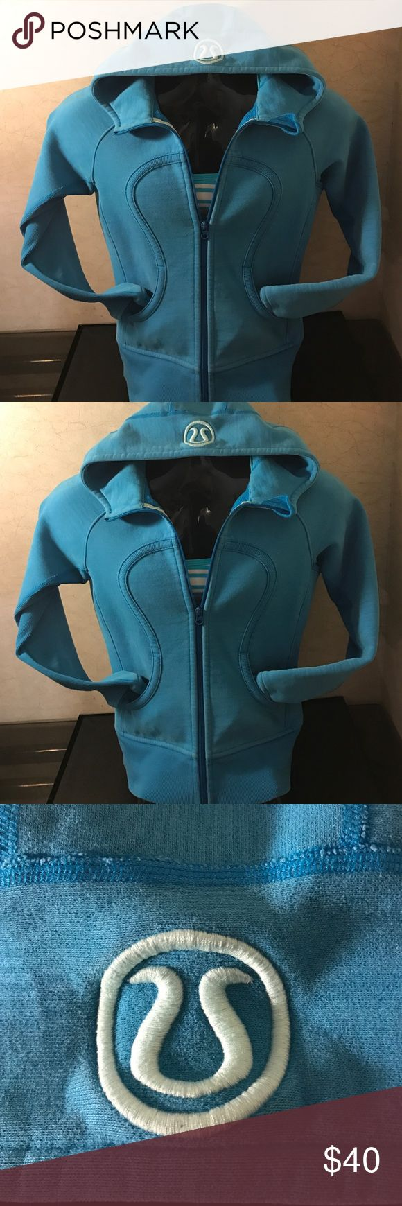 WOMEN BLUE LULULEMON ZIP UP HOODIE SCUBIA COAT SZM Women's like new light blue scuba zip up hoodie size medium in excellent condition very thick high quality hoodie very fashionable!!! lululemon athletica Tops Sweatshirts & Hoodies
