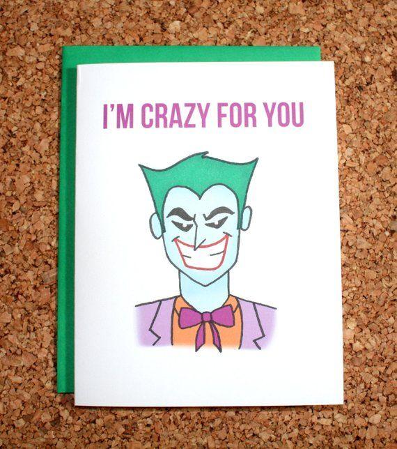 Batman Joker Valentine Card I M Crazy For You Batman Etsy Valentines Cards Batman Valentines Original Greeting Card