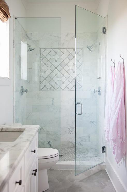 Marble arabesque shower tiles