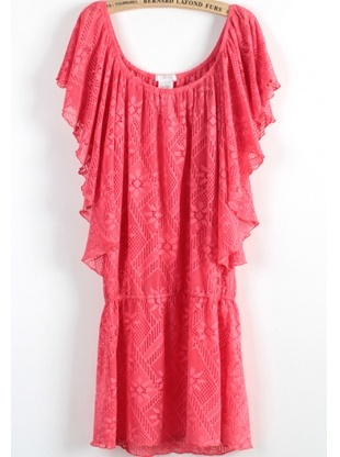 red batwing sleeve round neck cotton blends dress