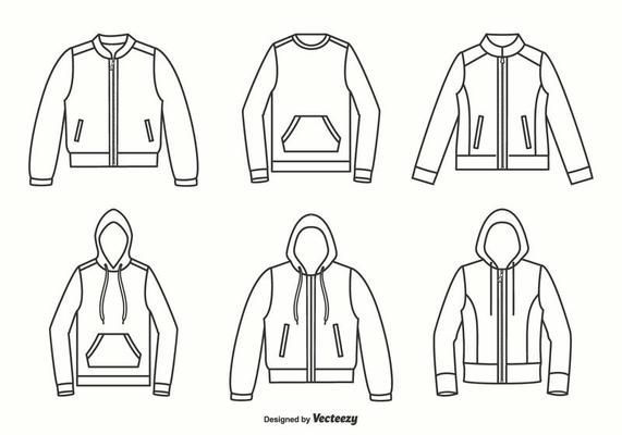 Download Blank White Outline Hooded Sweatshirt Template Download Free Vectors Clipart Graphics Vector Art Vector Design Outline Designs Design