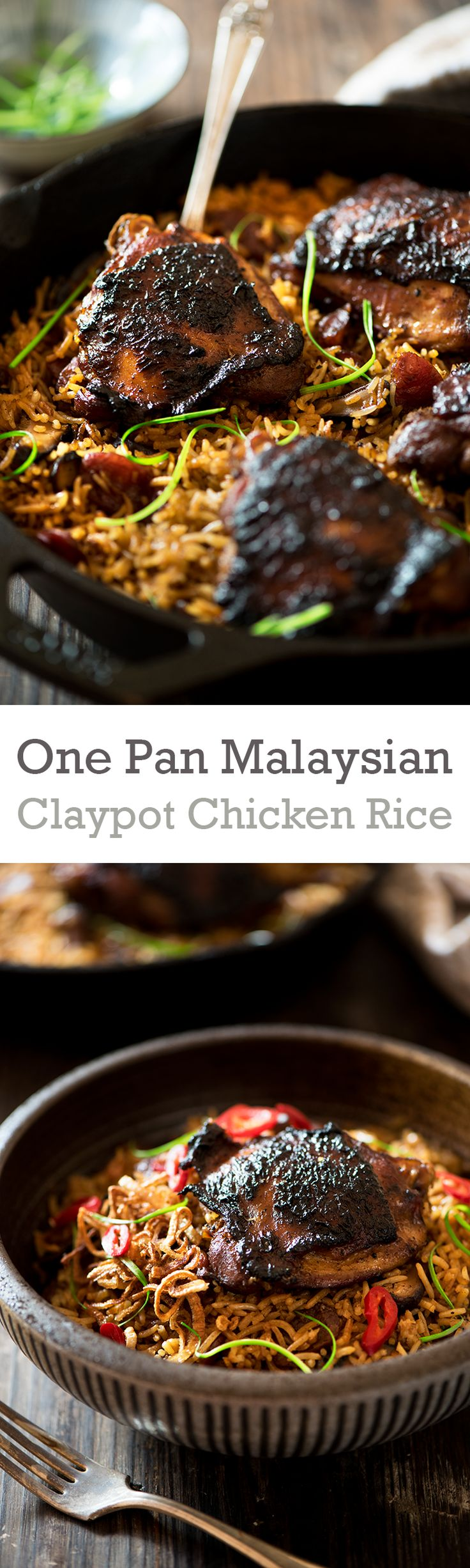 One Pan Malaysian Claypot Chicken Rice - Savory-sweet succulent marinated chicken, flavor boosting Chinese sausages, mushrooms and rice cooked in chicken broth.: