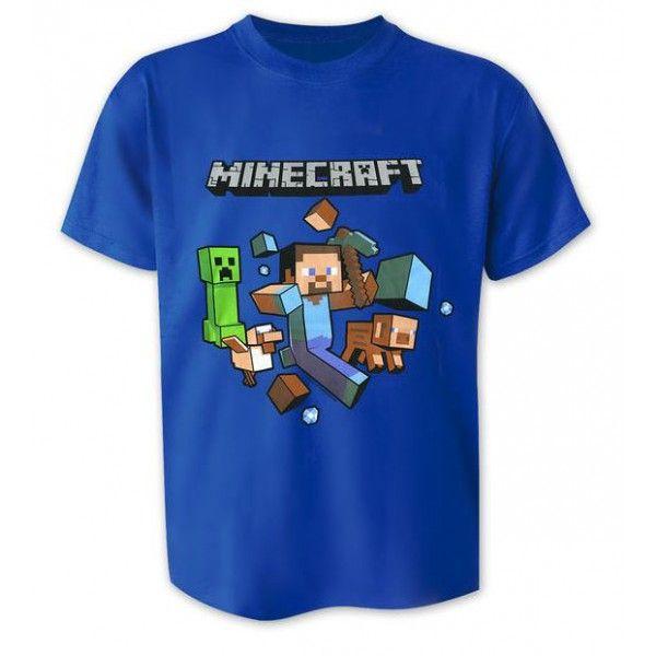 Super sej Minecraft t-shirt i flot blå farve og med stort motiv på fronten