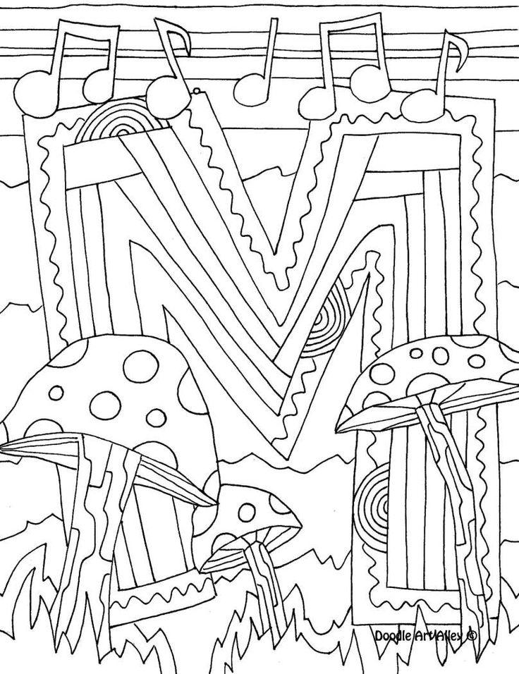 Letter Coloring Pages Doodle Art Alley Art Zentangle 2