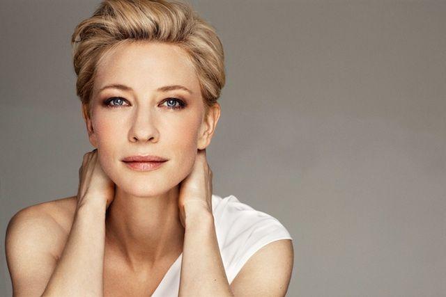 Cate Blanchett / studio headshot / gray background