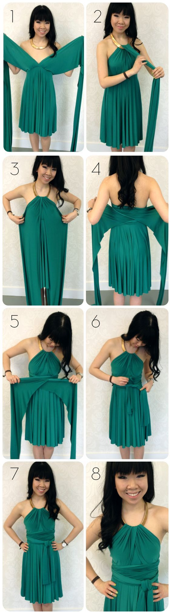 Use a necklace to create a metallic halter neckline with your convertible dress! An easy way to refashion with existing pieces!